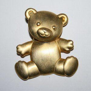 Vintage gold JJ bear brooch
